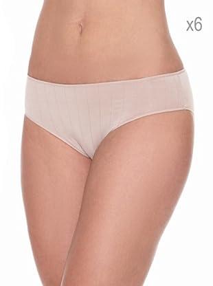 Pierre Cardin Pack x 6 Braguitas Bikini Canalé (Nude)