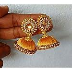 gold color silk thread earrings