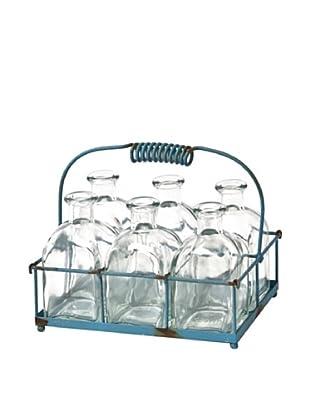 Skalny Set of 6 Bottle Vases with Wire Basket