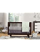 Babyletto Tranquil Woods 5-Piece Crib Set with Sheet Skirt, Play Blanket, Pad Cover and Wall Decal