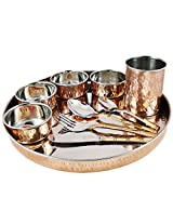 Tableware Set, Service for 8, Copper Stainless Steel Dinner Plate, Bowls, Water Glass and Cutlery Set
