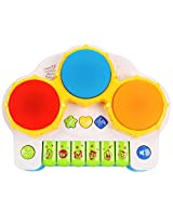 CF Toys 2 in 1 Beat & Play Battery Operated Colorful Hand Drum and Piano Musical Toy