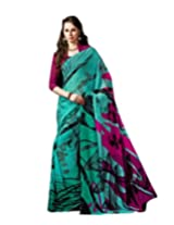Green Color Georgette Printed Saree with Blouse 7010