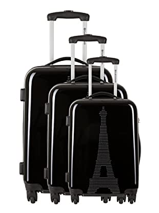 Platinium 3er Set Trolley 4 Rollen Paris (Schwarz)