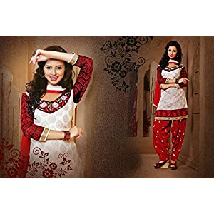 Ethnic Fire 23391 Semi Stitched Patiala Suit - Red