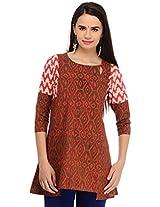 Aana Women's Cotton Regular Fit Kurti (ASKI065F061CRD, Red , L)
