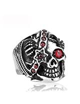 Cilver Fashion one eyed Vampire skull Stainless steel ring for men (10.0)