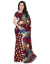 Silk Bazar Women's Faux Georgette Saree with Blouse Piece (Maroon)