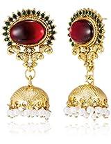 Ava Jhumki Earrings for Women (Red) (E-SD-ACE7121)