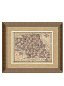 "Johnson and Ward Antique Map of Missouri & Kansas, 1860's, 28"" x 34"""