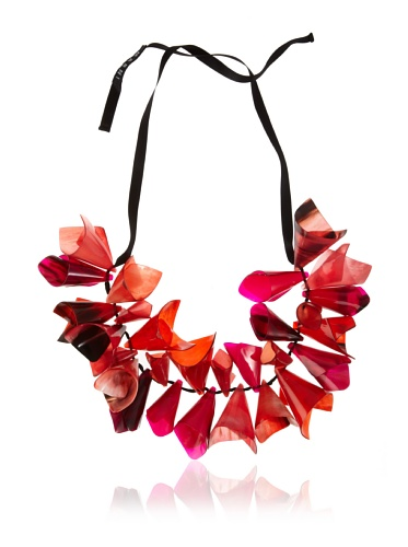 MARNI Women's Burgundy Beaded Cone Necklace