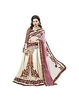 YSK Cream Wedding Lehenga One Minute Saree Net Embroidery Border Sari