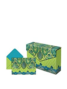 Punch Studio Set of 3 Flip Top Box Notes (Lime Paisley)