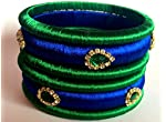 Silk Thread Bangles (Set of 6) - Peocock (Green & Blue) - 2.6
