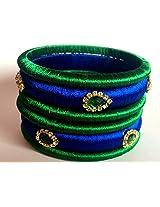"Silk Thread Bangles (Set of 6) - Peocock (Green & Blue) - 2.6"" size"