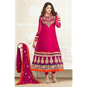 Pink Georgette with Patch And Embroidery Work Unstitched Anarkali Salwar Kameez Suit