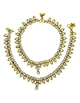 The jewelbox antique traditional kundan look payal anklet pair 30cm