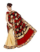 Parichay Women's Pure Chiffon Saree(Offwhite Black)