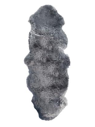 Natural Brand New Zealand Sheepskin Double Rug, Grey, 2' x 6' Runner