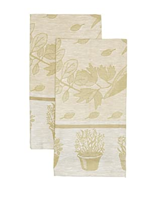 Mierco Fine Linens Set of 2 Herbs Jacquard Tea Towels, Yellow/Taupe, 20