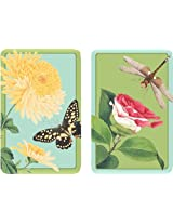 Entertaining with Caspari Double Deck of Bridge Playing Cards with Jumbo Typeface, Winterthur Florals, Set of 2