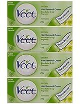 Veet Hair Removal Cream for Dry Skin - 25 g (Pack of 4)