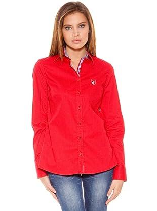 Polo Club Camisa Manga Larga Señora Entallada Lisa (Rojo)