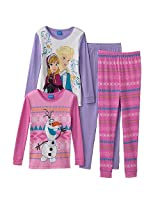 Disney Girls 4 Piece Purple/Pink Fozen Cotton Pajama Set With Long Sleeve Elsa/ Anna And Olaf Tops And Pants - Toddler