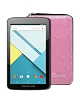 """Visual Land Prestige ELITE 7QS - 7"""" QuadCore 16GB Android Tablet with Wallet Case, Lollipop 5.0 OS, Wifi, 1024x600 HD, Google Play (Pink)"""