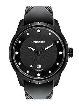 K&BROS 9454-1 / Reloj de Caballero  con correa de caucho Negro / Blanco