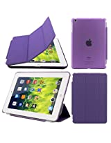 Elite Ultra Thin Smart Flip Foldable Flip Case cover for Apple iPad Mini 3 Tablet with Glittering stylus (Sleep/wakeup) (Purple)