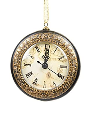 Winward Handcrafted Resin Clock Ornament, Black/Gold