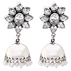 Ada Handcrafted Jewellery Sterling 925 Silver Jhumki Earring With Pearl For Women SE-1266.4