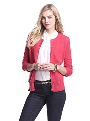 Cashmere Addiction Women's Pocket Cashmere Cardigan (Lipstick)