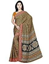 Sitaram Women's Gold coloured georgette saree with blouse piece