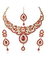 I Jewels Traditional Gold Plated Stone Necklace Set with maang tikka for Women(Red)(M4031R)