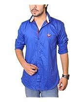 Nation Polo Club Men's 100% Cotton Lycra Coduroy Pattern Slim Fit Casual Royal Blue Color Shirt M