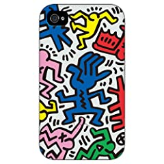 Keith Haring Collection Bezel Case for iPhone 4(Chaos/White)[BC-CWT] - COLORS