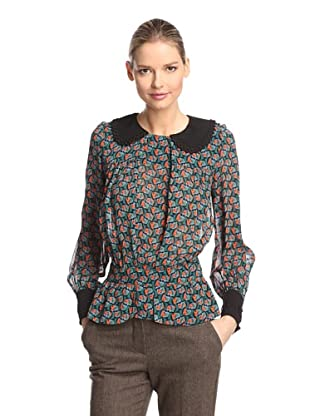 Anna Sui Women's Blooms Georgette Blouse (Black Multi)