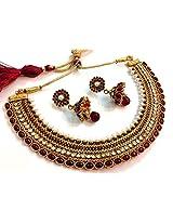 Divinique Jewelry GRAND MAROON PEARL POLKI NECKLACE SET