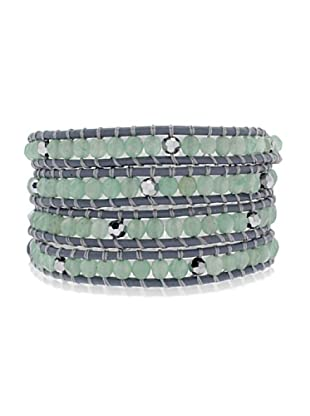 Lucie & Jade Echtleder-Armband Aventurinquarz, Glaskristall dunkelblau/grün/silber