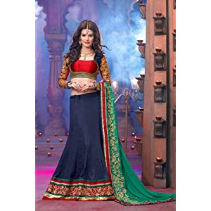 Red and Blue Faux Georgette,Satin and Brocade Lehenga Choli