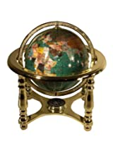 Unique Art 10-Inch Tall Table Top Green Crystallite Ocean Gemstone World Globe with Gold Four Leg Stand