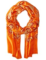 Saro Lifestyle Women's Paisley Design Scarf, Persimmon, One Size