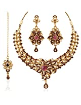 I Jewels Traditional Gold Plated Kundan Necklace Set with Maang Tikka for Women K7051Pu (Purple)