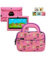 Evecase Contixo Kids Safe / Kids 7 Inch Quad Core Android 4.4 Tablet Sleeve, Cute Princess Themed Neoprene Travel Carrying Slim Sleeve Case Bag w/ Dual Handle and Accessory Pocket - Pink w/ Purple Trim