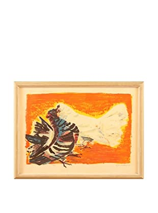 Pecking Order Framed Artwork, Orange/Blue/Black/Grey