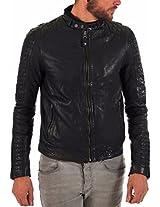 HugMe.fashion Men's Leather Jacket (JK31_Black_XL, Black, XL)