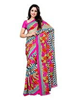 Ambaji Beige & Pink Coloured Heavy Renial Georgette Printed Saree