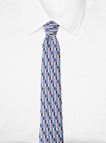 Emilio Pucci Men's Grid Tie, Blue/Purple